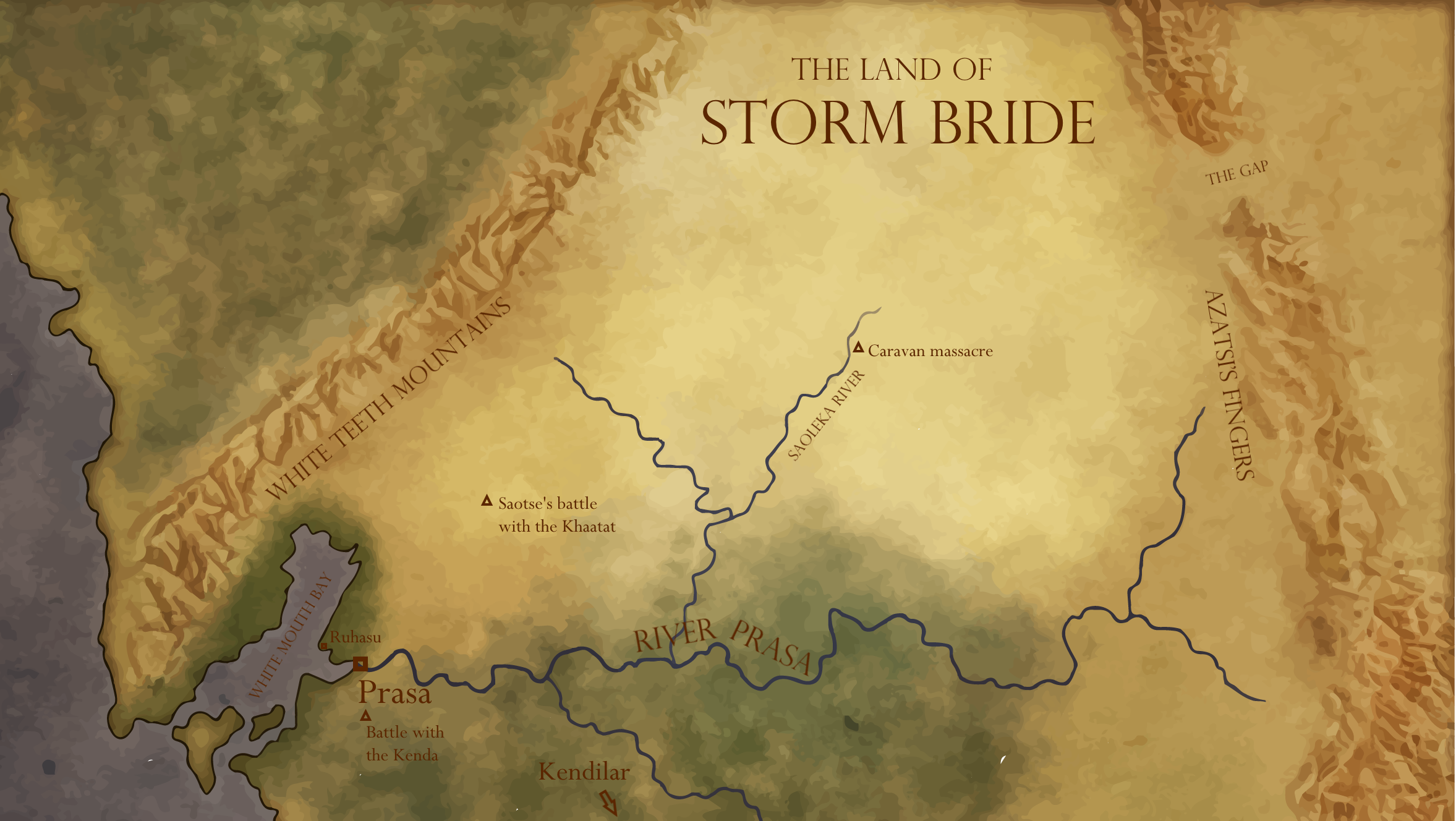 Map of the portion of Aratasa where Storm Bride is set.